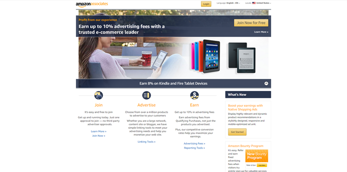 front page of Amazon Associates