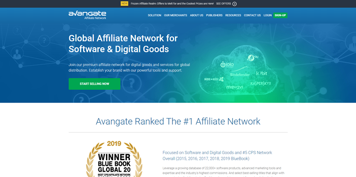 Front page of Avangate Affiliate Network