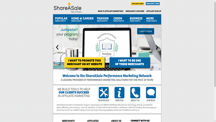 Front page of ShareASale