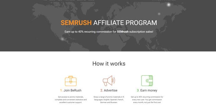 What is SEMRush affiliate program - Berush main page