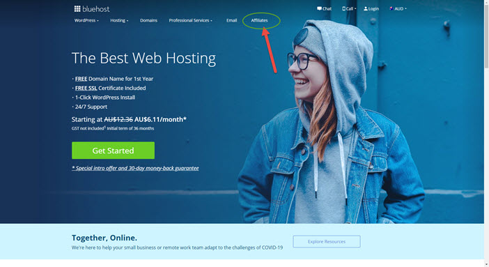 Bluehost affiliate signup screen