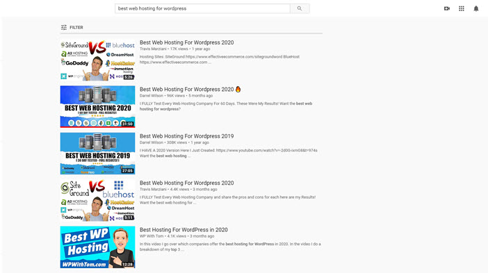 Youtube search result
