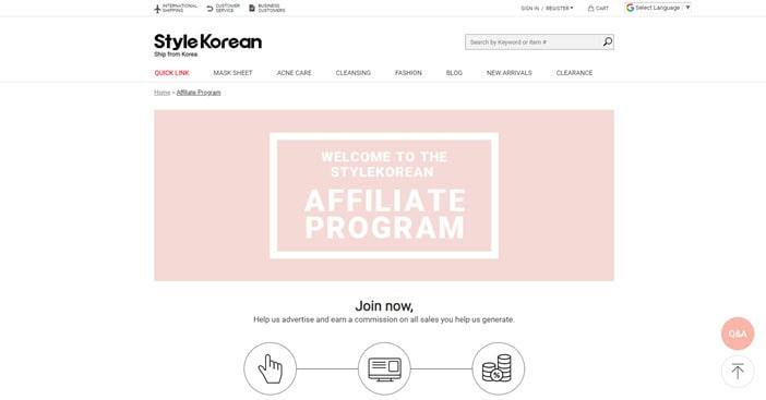 Style Korean Affiliate Program
