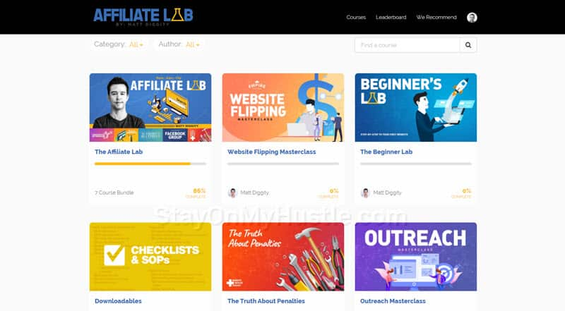 Affiliate Lab course dashboard