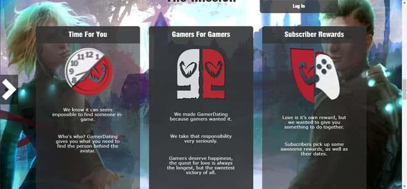 GamerDating front page